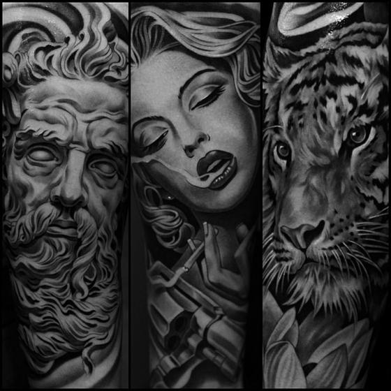 Черно-белые татуировки от JunCha Смотрите работы мастера - http://funtattoo.ru/?p=9180